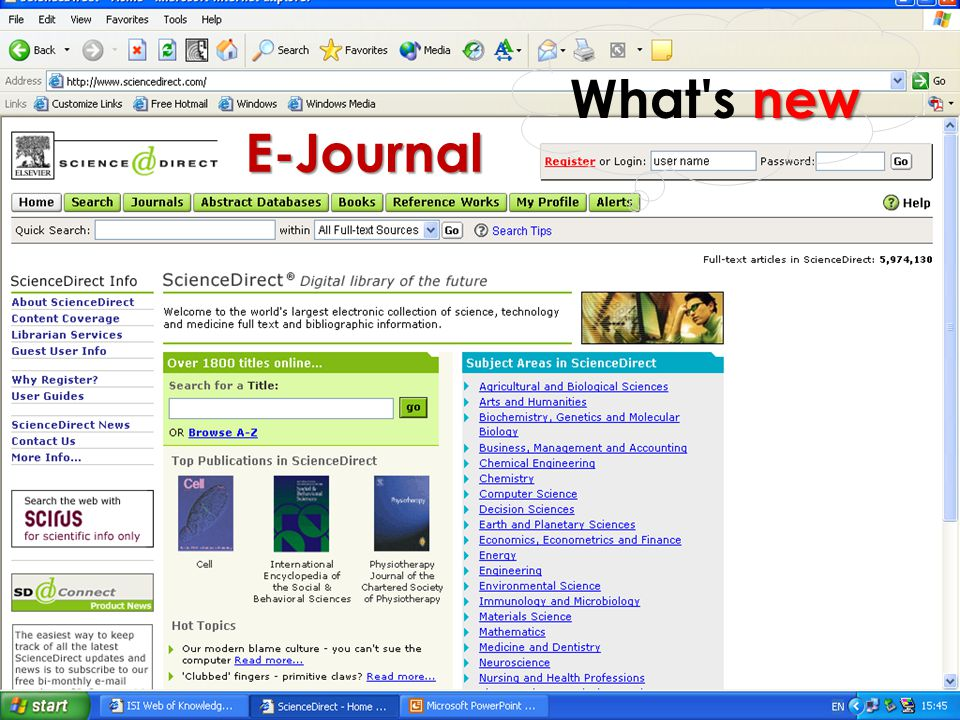 What s new E-Journal