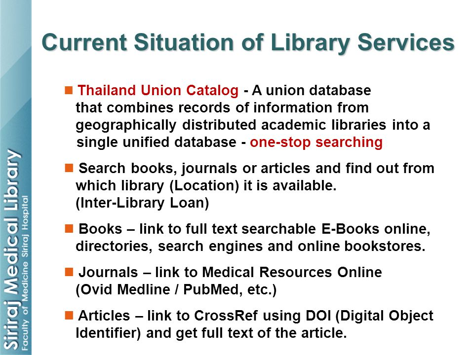 Current Situation of Library Services
