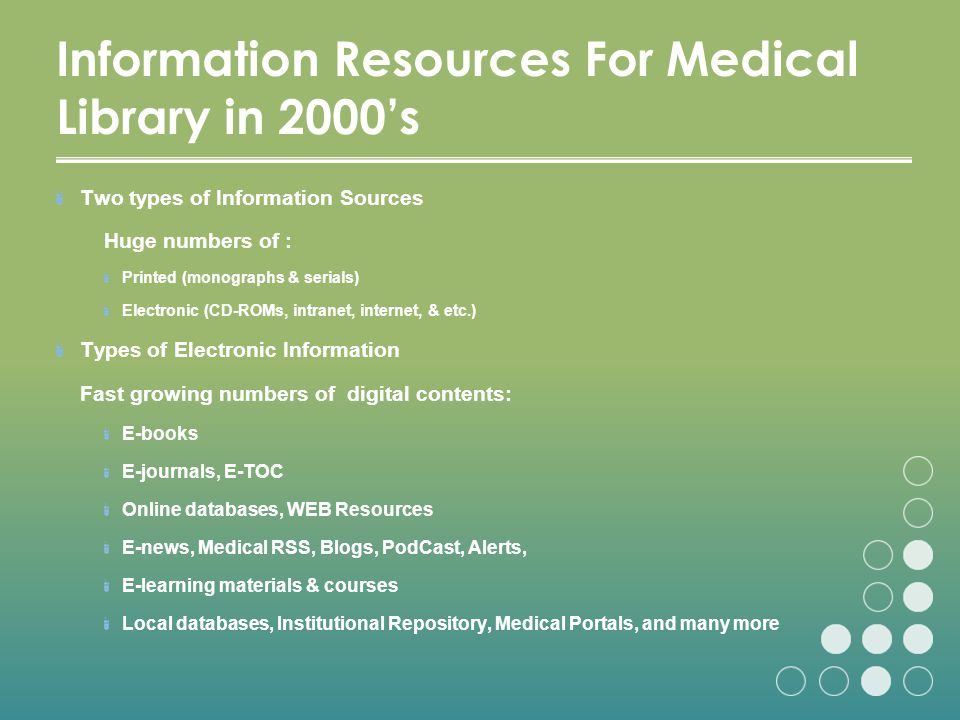 Information Resources For Medical Library in 2000's