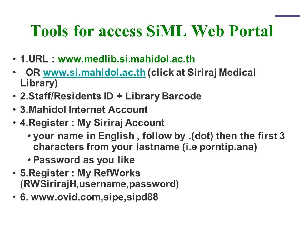 Tools for access SiML Web Portal