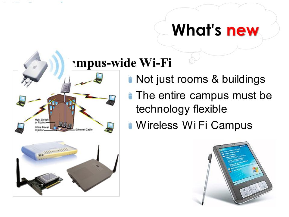 What s new Campus-wide Wi-Fi Not just rooms & buildings