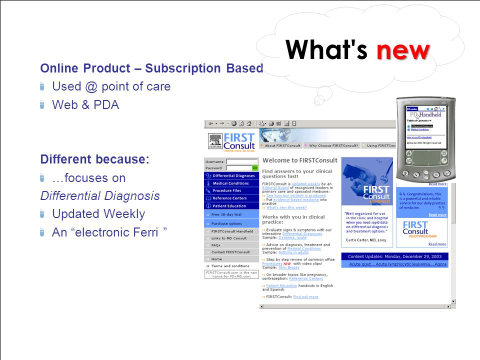 What s new Online Product – Subscription Based Used @ point of care