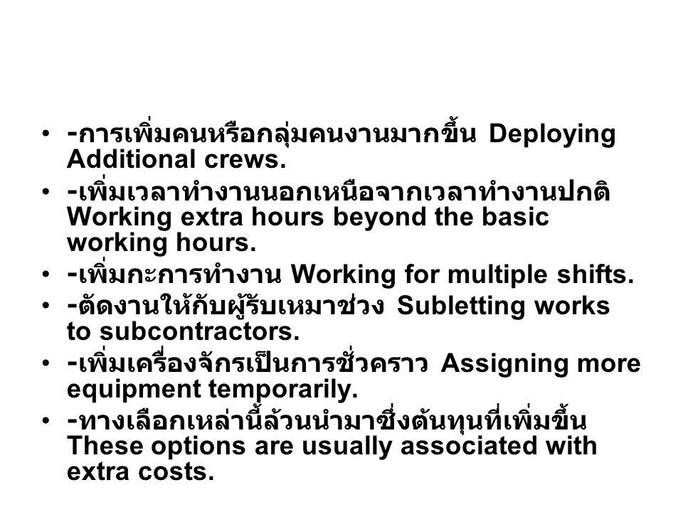 -การเพิ่มคนหรือกลุ่มคนงานมากขึ้น Deploying Additional crews.