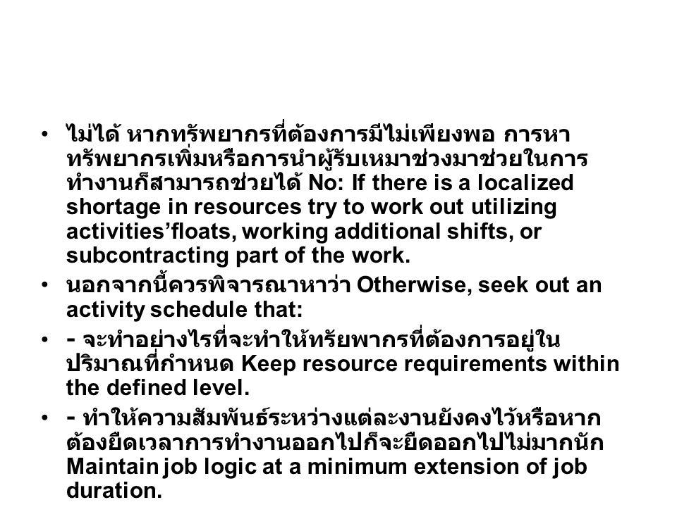 ไม่ได้ หากทรัพยากรที่ต้องการมีไม่เพียงพอ การหาทรัพยากรเพิ่มหรือการนำผู้รับเหมาช่วงมาช่วยในการทำงานก็สามารถช่วยได้ No: If there is a localized shortage in resources try to work out utilizing activities'floats, working additional shifts, or subcontracting part of the work.