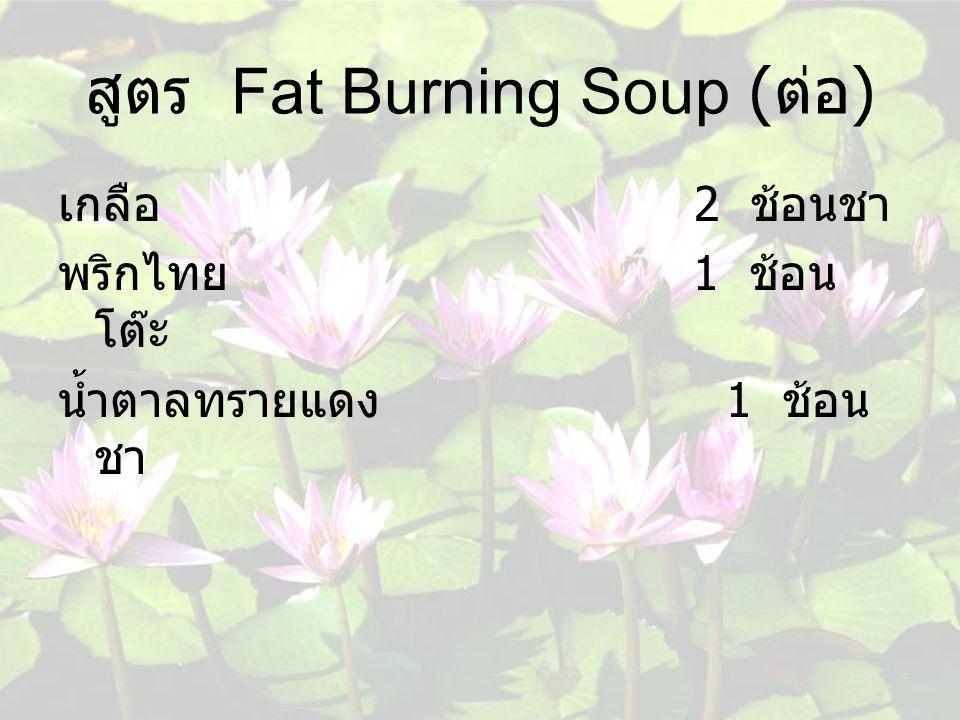 สูตร Fat Burning Soup (ต่อ)