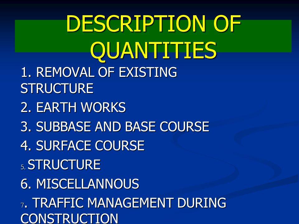 DESCRIPTION OF QUANTITIES