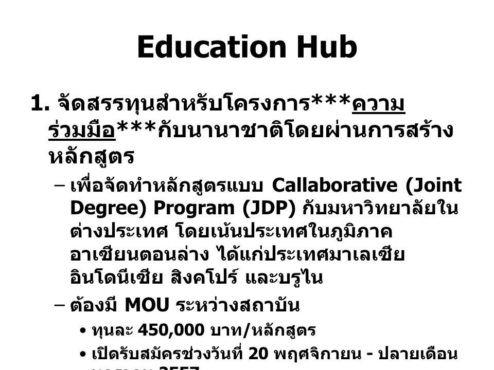 Education Hub 1. จัดสรรทุนสำหรับโครงการ***ความร่วมมือ***กับนานาชาติโดยผ่านการสร้างหลักสูตร.
