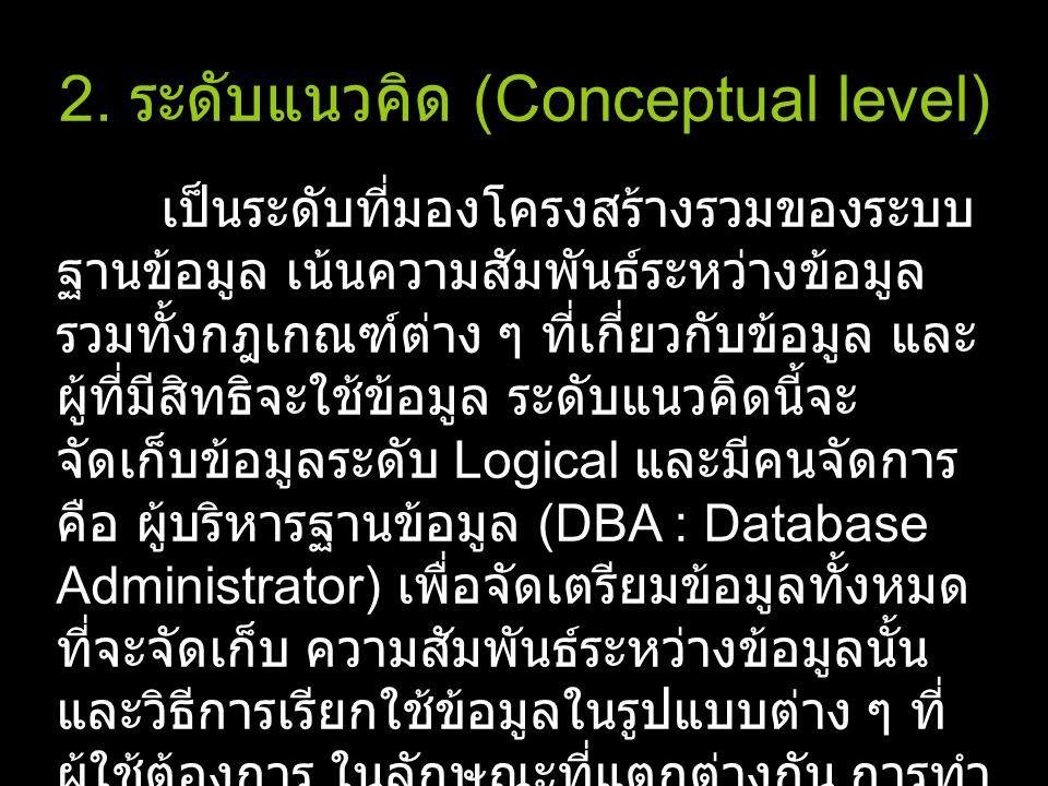 2. ระดับแนวคิด (Conceptual level)