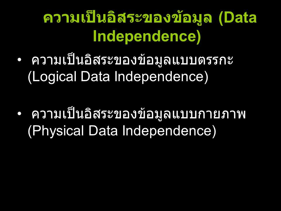 ความเป็นอิสระของข้อมูล (Data Independence)