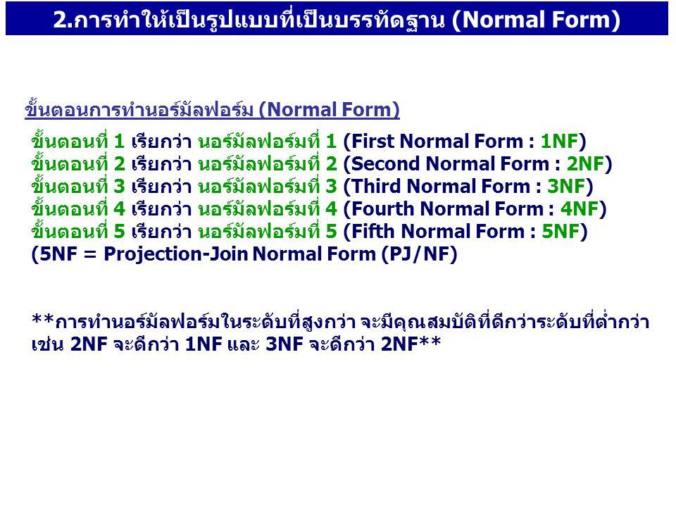 2.การทำให้เป็นรูปแบบที่เป็นบรรทัดฐาน (Normal Form)