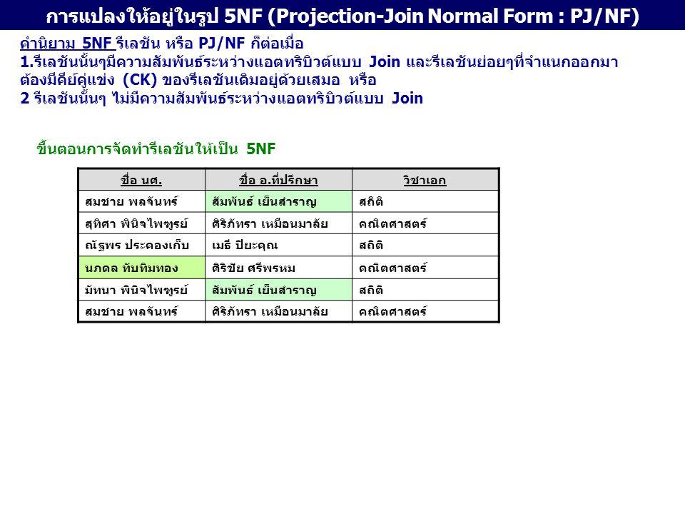 การแปลงให้อยู่ในรูป 5NF (Projection-Join Normal Form : PJ/NF)
