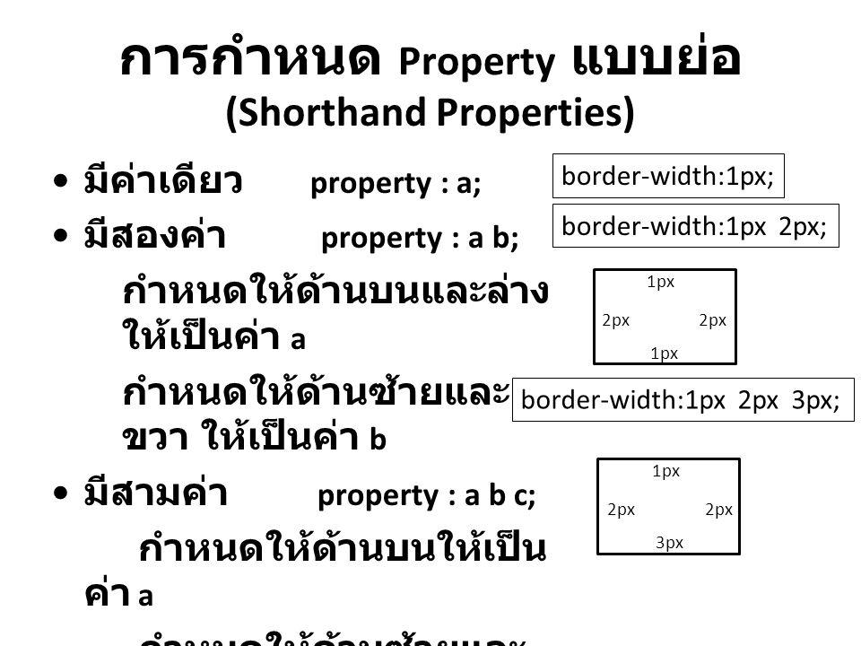 การกำหนด Property แบบย่อ (Shorthand Properties)