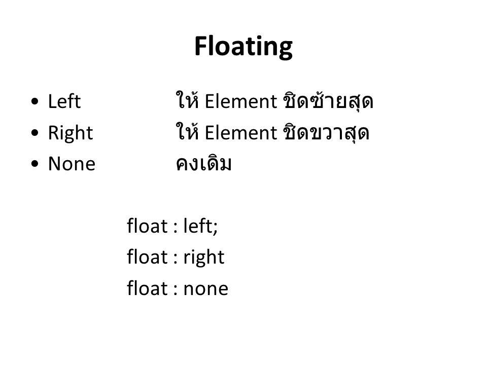 Floating Left ให้ Element ชิดซ้ายสุด Right ให้ Element ชิดขวาสุด