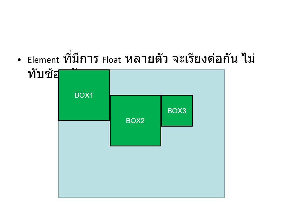 Element ที่มีการ Float หลายตัว จะเรียงต่อกัน ไม่ทับซ้อนกัน