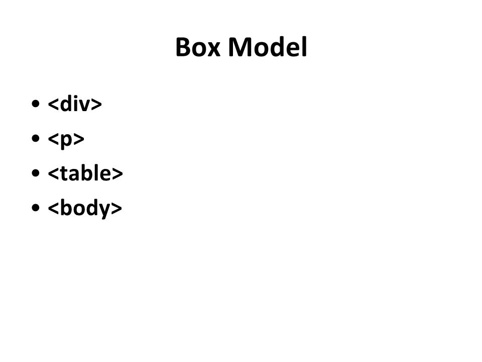 Box Model <div> <p> <table> <body>