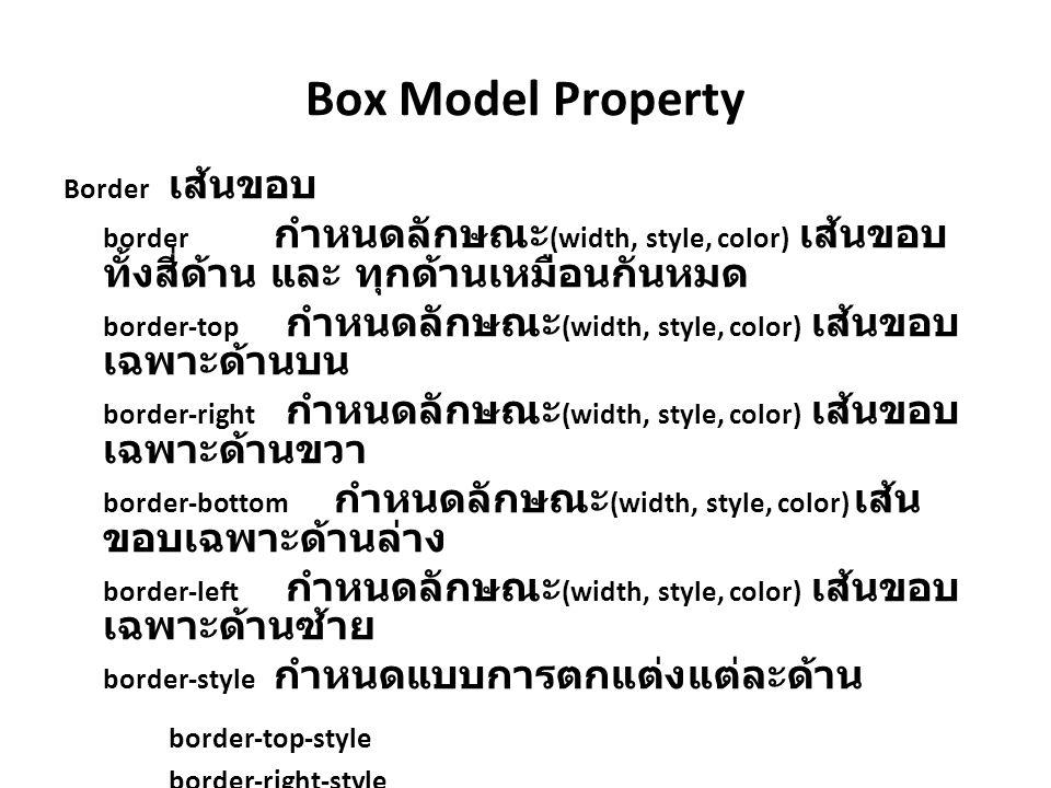 Box Model Property Border เส้นขอบ. border กำหนดลักษณะ(width, style, color) เส้นขอบทั้งสี่ด้าน และ ทุกด้านเหมือนกันหมด.