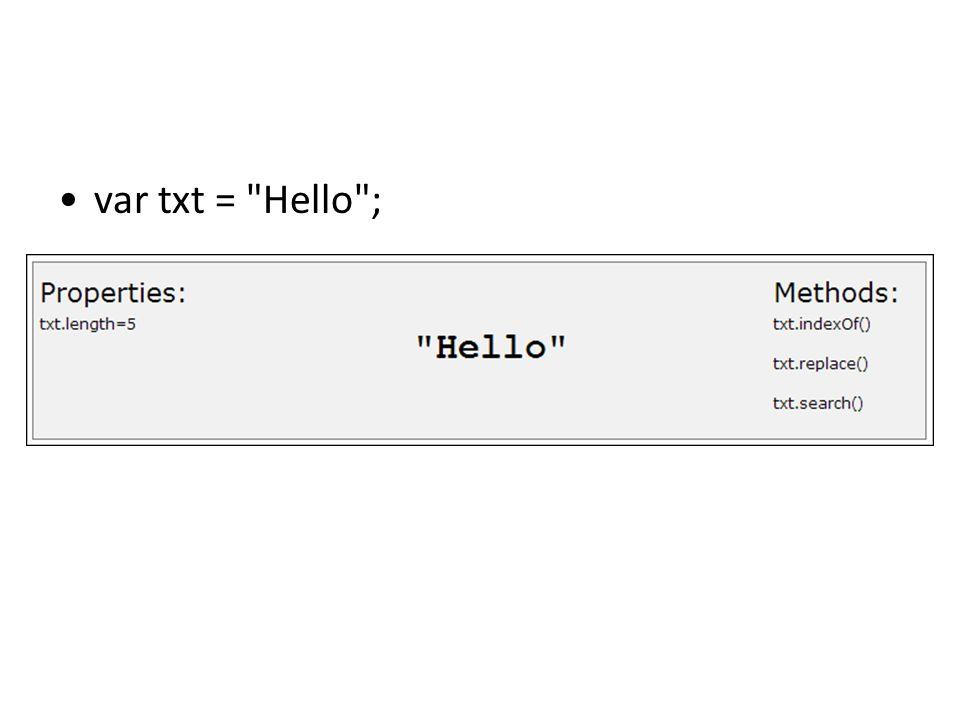 var txt = Hello ;