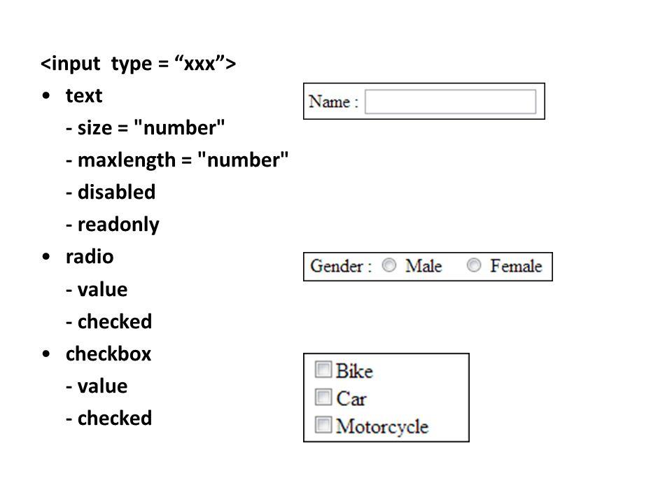 <input type = xxx >