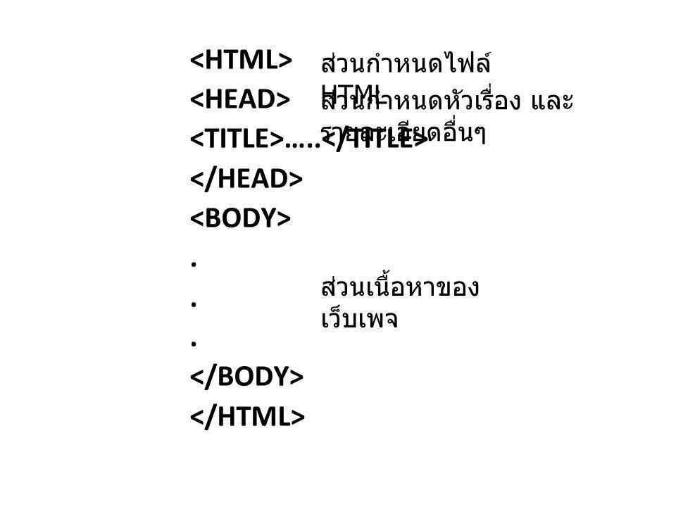 <TITLE>…..</TITLE> </HEAD> <BODY> .