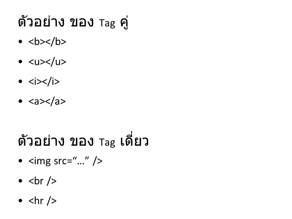 ตัวอย่าง ของ Tag เดี่ยว