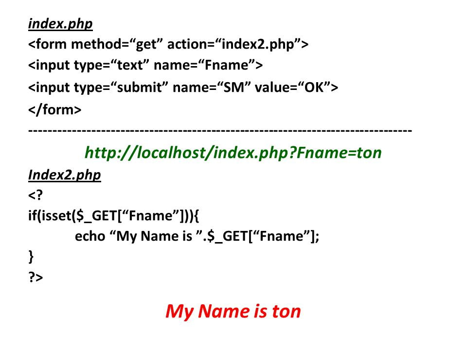 My Name is ton http://localhost/index.php Fname=ton index.php