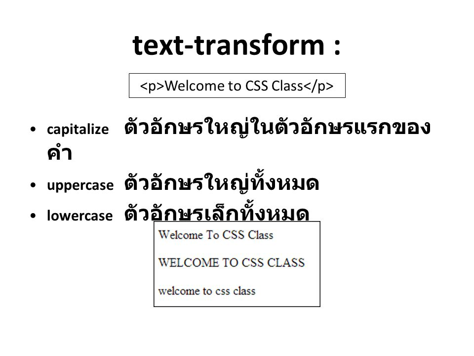 <p>Welcome to CSS Class</p>