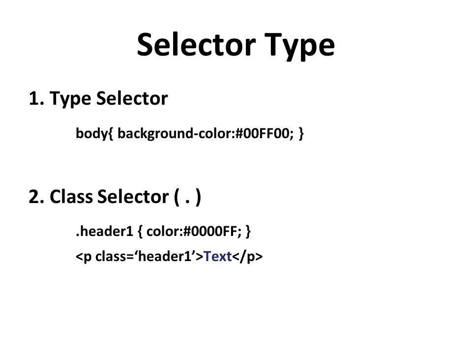 Selector Type body{ background-color:#00FF00; }