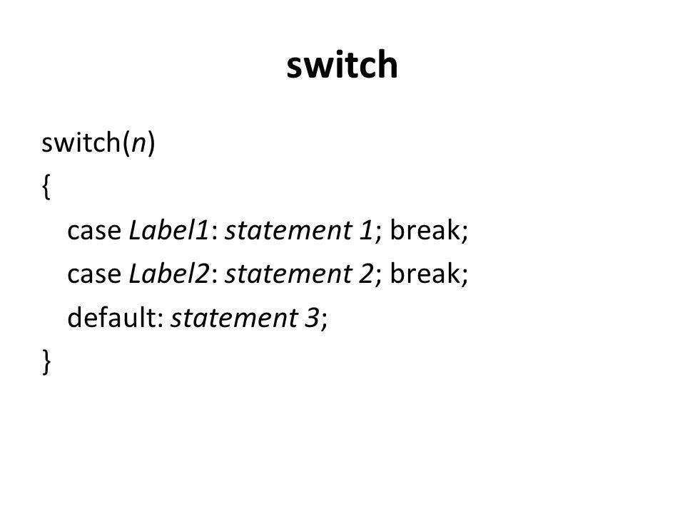 switch switch(n) { case Label1: statement 1; break;