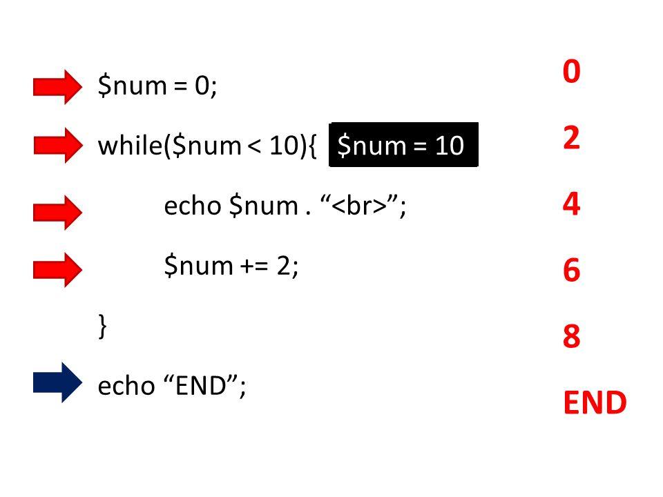 2 4 6 8 END $num = 0; while($num < 10){ echo $num . <br> ;