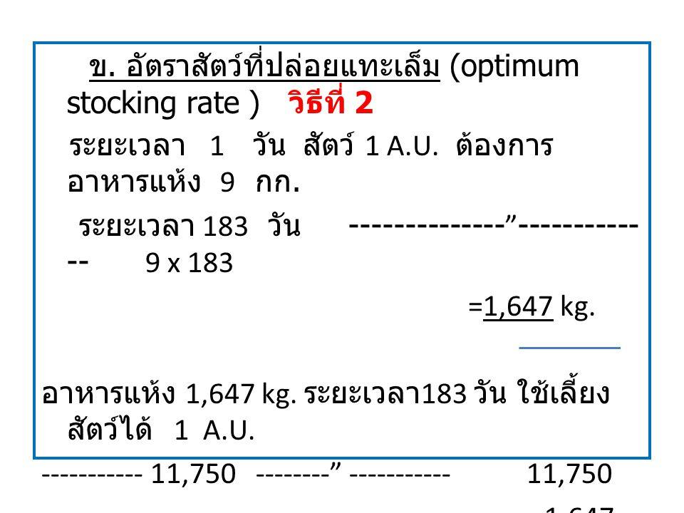 ข. อัตราสัตว์ที่ปล่อยแทะเล็ม (optimum stocking rate ) วิธีที่ 2 ระยะเวลา 1 วัน สัตว์ 1 A.U.