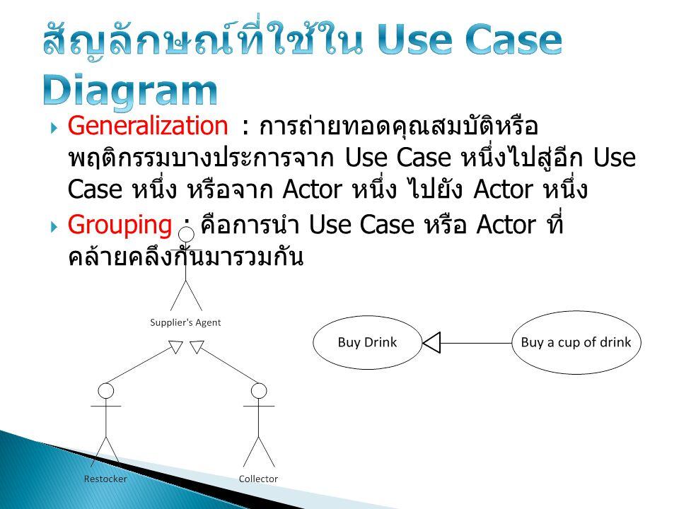 สัญลักษณ์ที่ใช้ใน Use Case Diagram