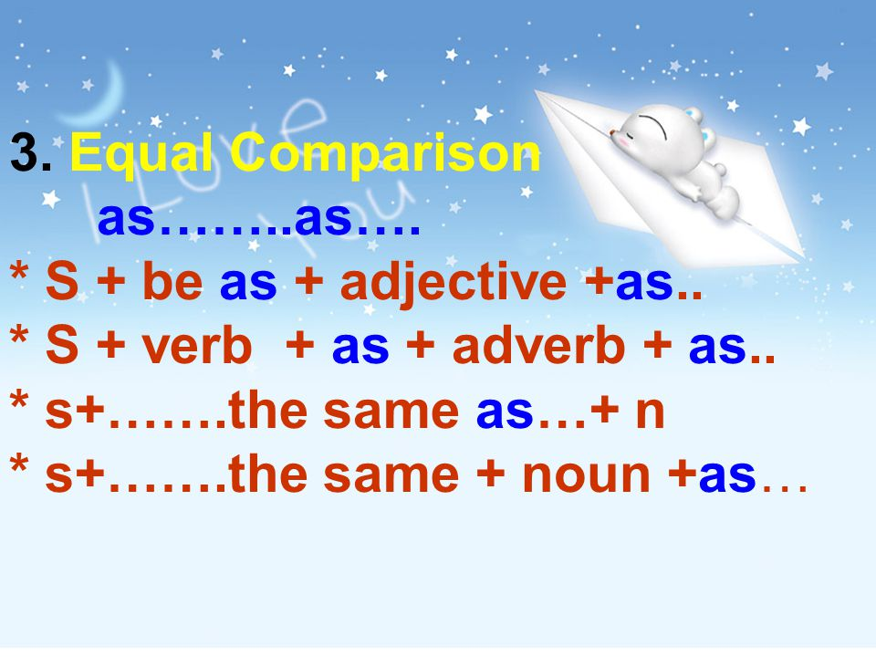3. Equal Comparison. as……. as…. S + be as + adjective +as