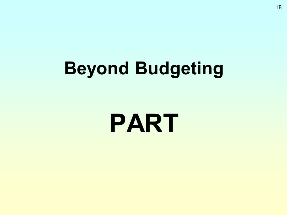 Beyond Budgeting PART
