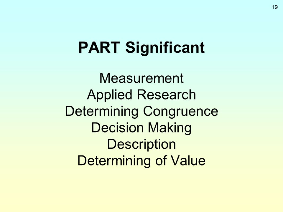 PART Significant Measurement Applied Research Determining Congruence Decision Making Description Determining of Value