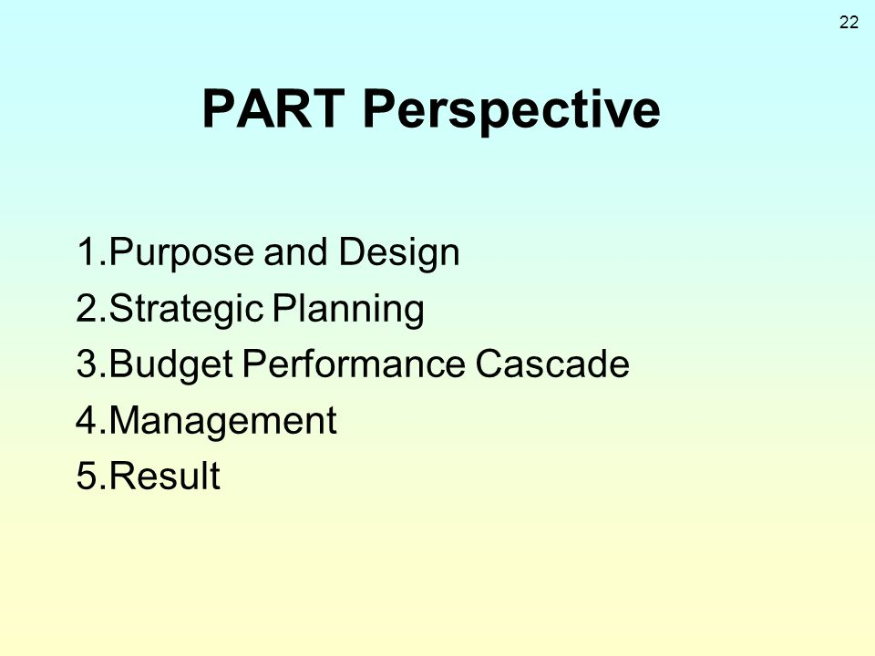 PART Perspective 1.Purpose and Design 2.Strategic Planning