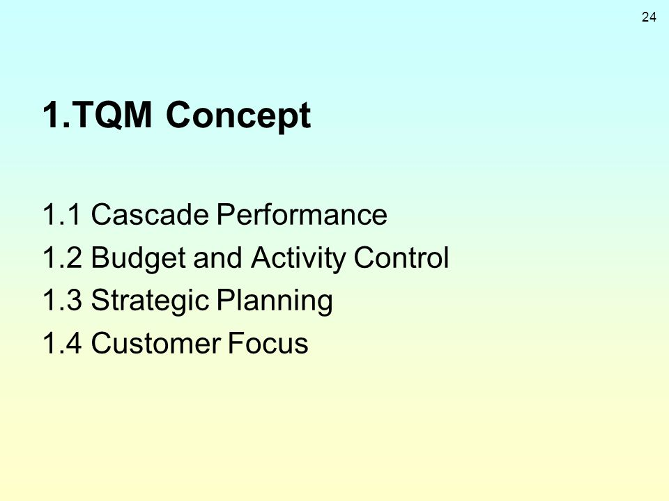 1.TQM Concept 1.1 Cascade Performance 1.2 Budget and Activity Control
