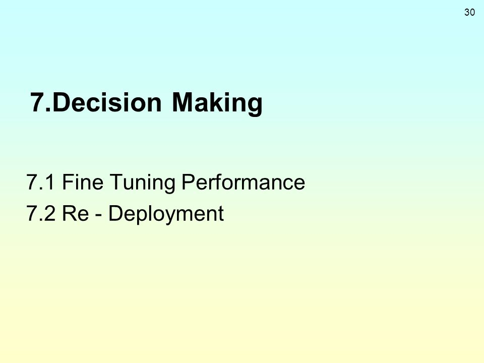 7.Decision Making 7.1 Fine Tuning Performance 7.2 Re - Deployment
