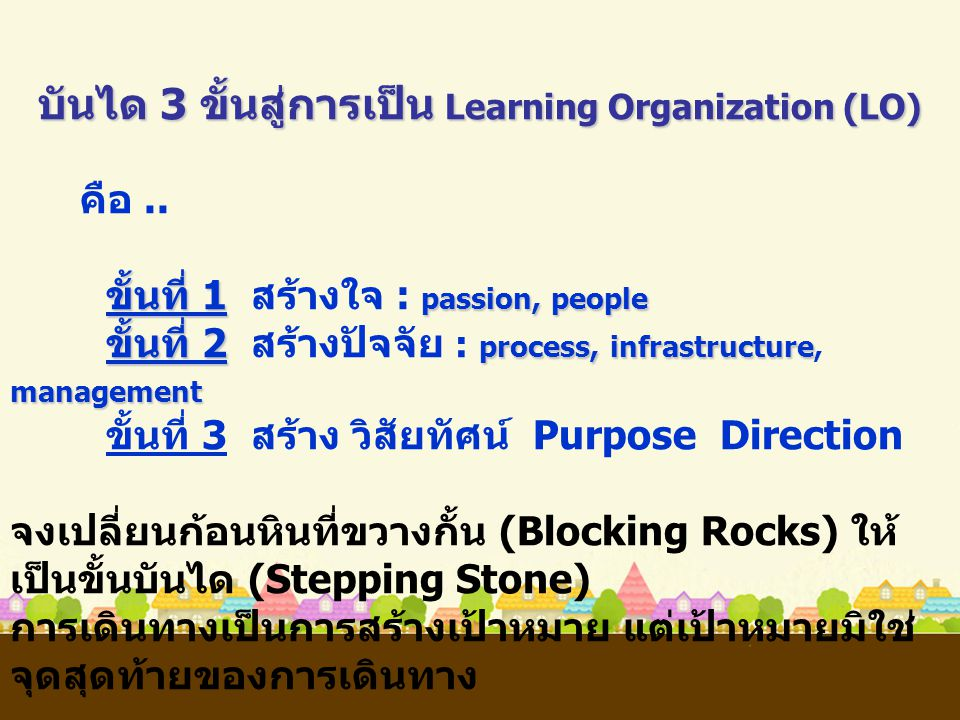 บันได 3 ขั้นสู่การเป็น Learning Organization (LO)