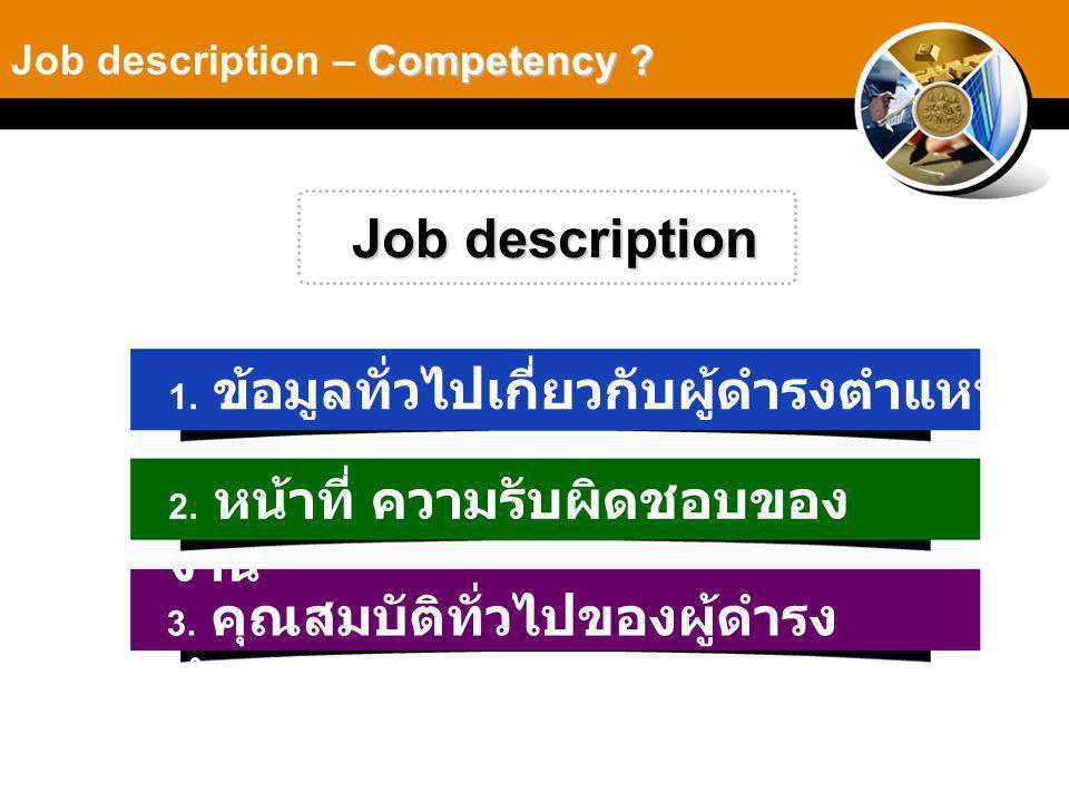 Job description Job description – Competency