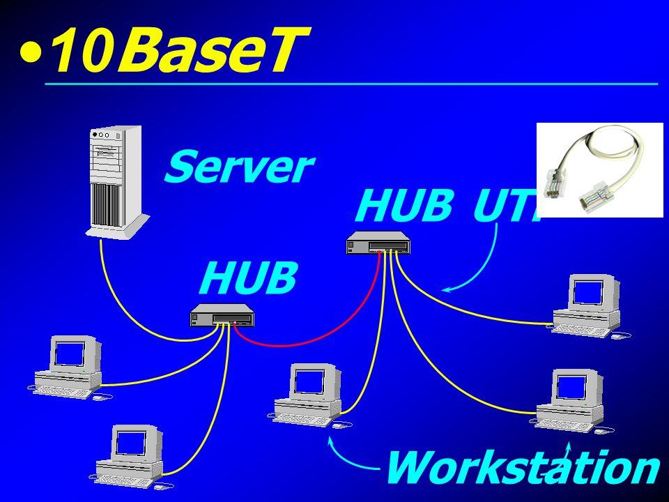 10BaseT Server HUB UTP HUB Workstation