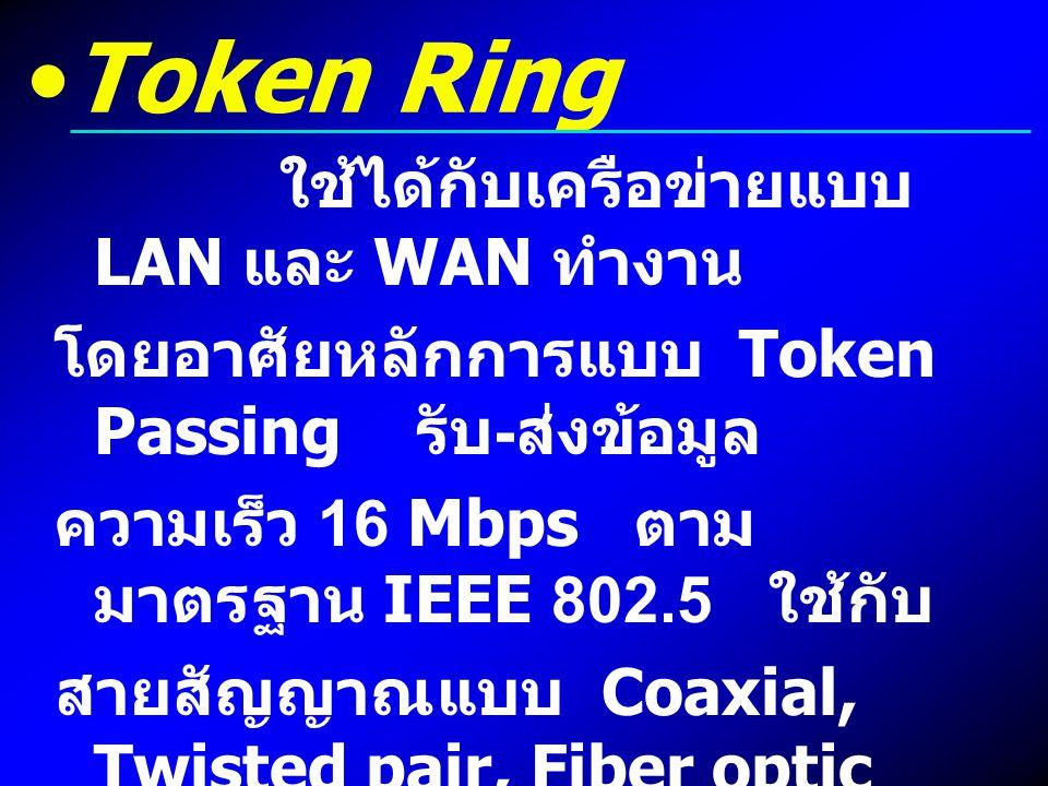 Token Ring ใช้ได้กับเครือข่ายแบบ LAN และ WAN ทำงาน