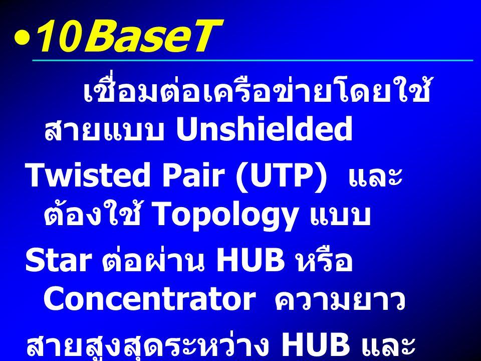 10BaseT Twisted Pair (UTP) และต้องใช้ Topology แบบ