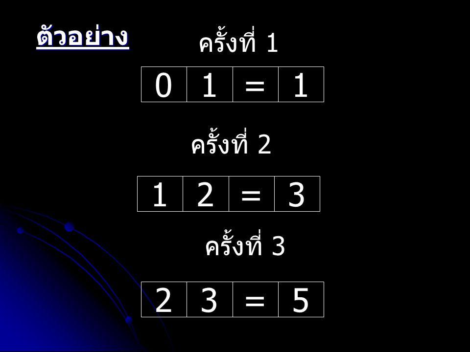 ตัวอย่าง ครั้งที่ 1 1 = ครั้งที่ 2 1 2 = 3 ครั้งที่ 3 2 3 = 5