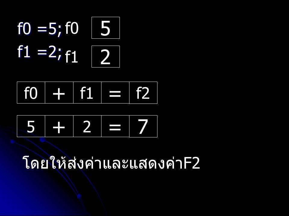 f0 =5; f1 =2; f0 5 f1 2 f0 + f1 = f2 5 + 2 = 7 โดยให้ส่งค่าและแสดงค่าF2