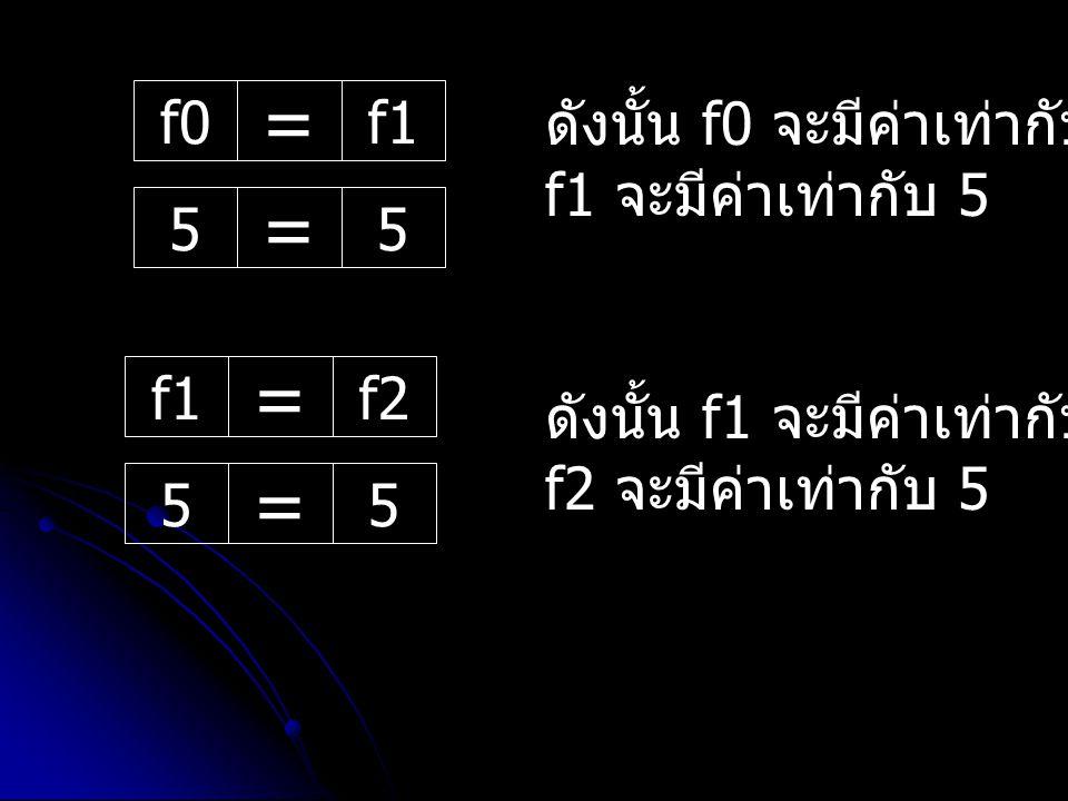 = = = = f0 f1 ดังนั้น f0 จะมีค่าเท่ากับ 0 และ f1 จะมีค่าเท่ากับ 5 5 f1