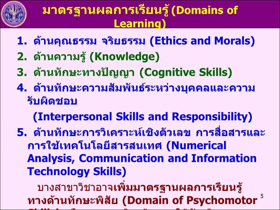 มาตรฐานผลการเรียนรู้ (Domains of Learning)