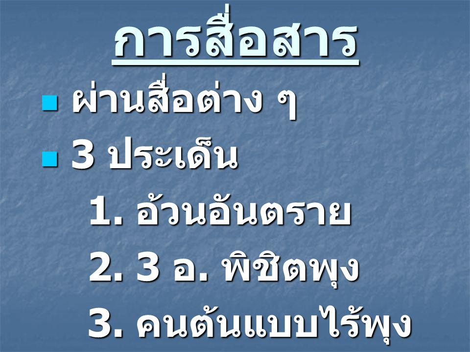 การสื่อสาร ผ่านสื่อต่าง ๆ 3 ประเด็น 1. อ้วนอันตราย 2. 3 อ. พิชิตพุง