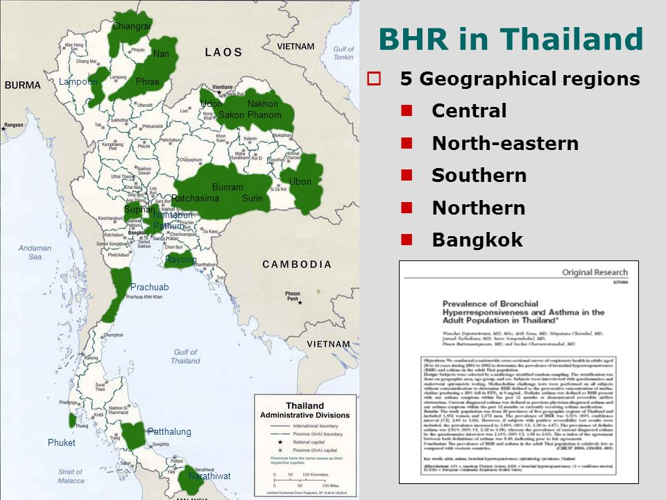 BHR in Thailand 5 Geographical regions Central North-eastern Southern