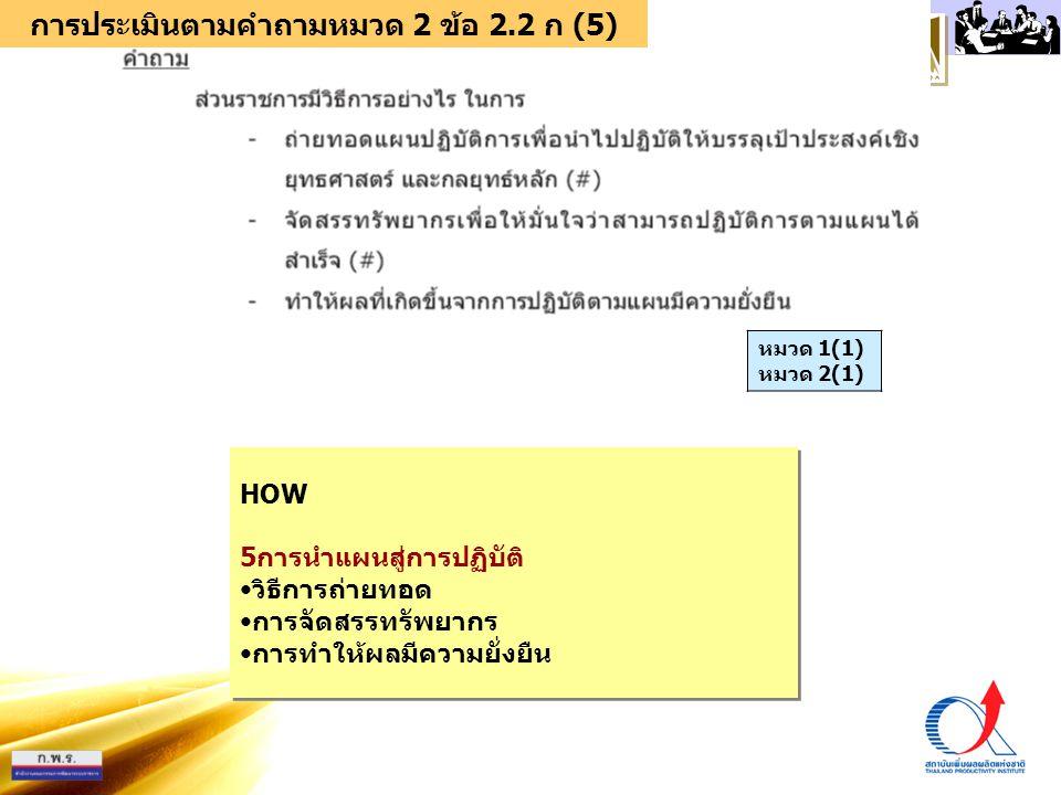 การประเมินตามคำถามหมวด 2 ข้อ 2.2 ก (5)