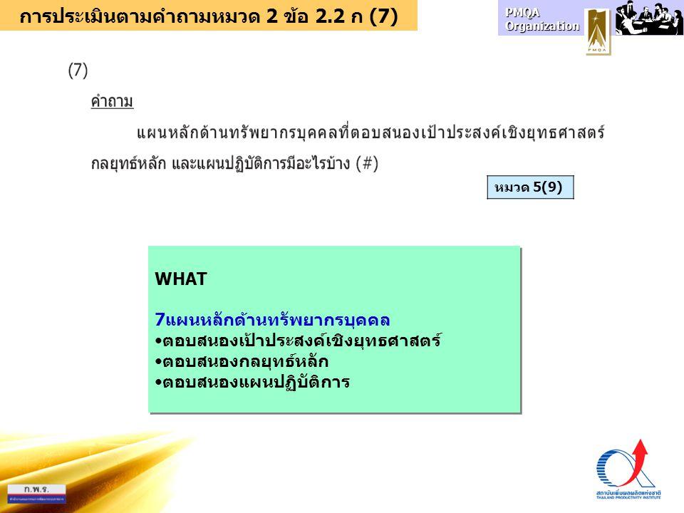 การประเมินตามคำถามหมวด 2 ข้อ 2.2 ก (7)